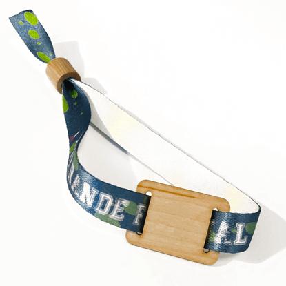 Ekologický náramek saténový s dřevěným RFID tagem