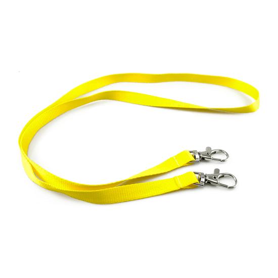 Šňůrka pevný textil bez potisku s dvěma karabinami žlutá